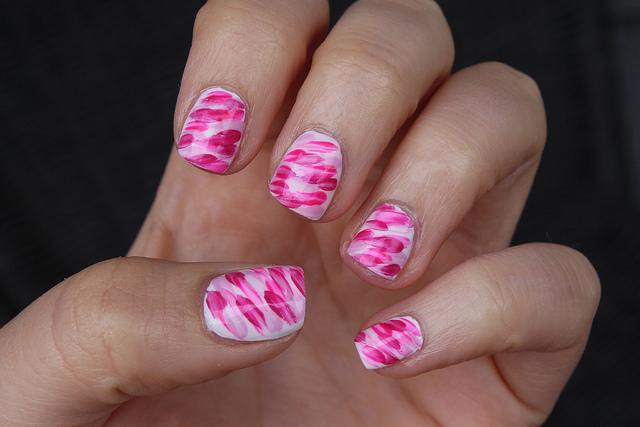Pink Brushstroke Nails