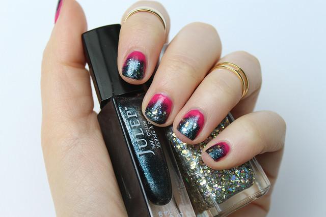 Gunmetal & Pink Manicure