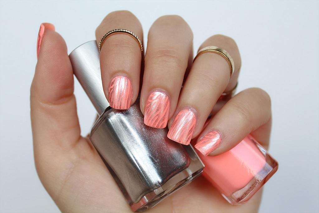 Orange & Silver Zebra Nails