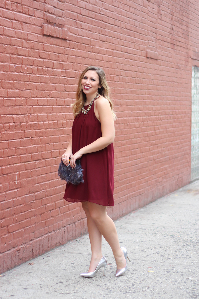 A Swing Dress & A Feather Clutch