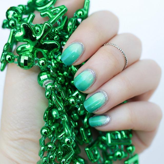 St. Patrick's Day Green Ombré Manicure