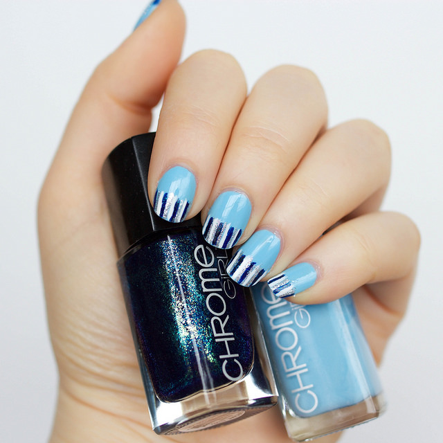 Pastel Blue Striped Manicure
