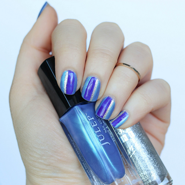 Easy Purple, Blue & Silver Striped Manicure