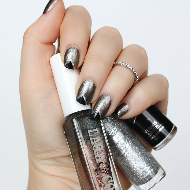 Metallic Black Triangle Nail Art
