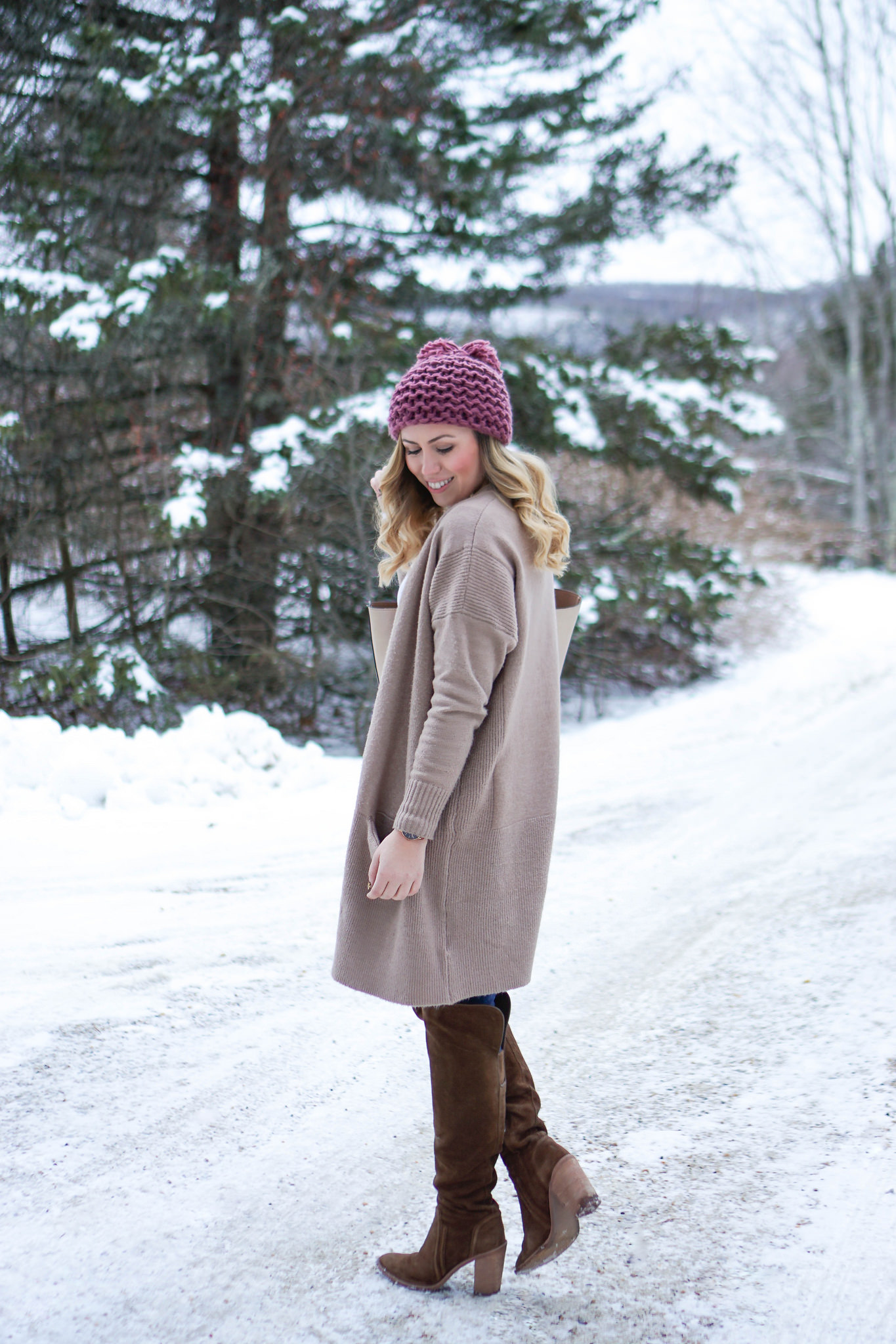 Pink Pom Pom Beanie and Camel Oversized Sweater
