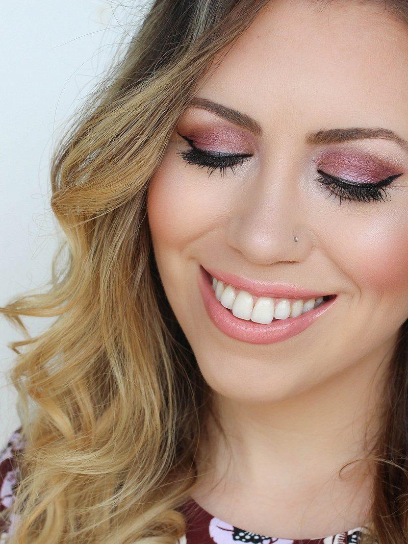 Purple Airbrush Eyeshadow Makeup with Luminess Air Airbrush System Maybelline Masterprecise Cat Eyeliner Bare MInerals Tutu Nude Lipstick