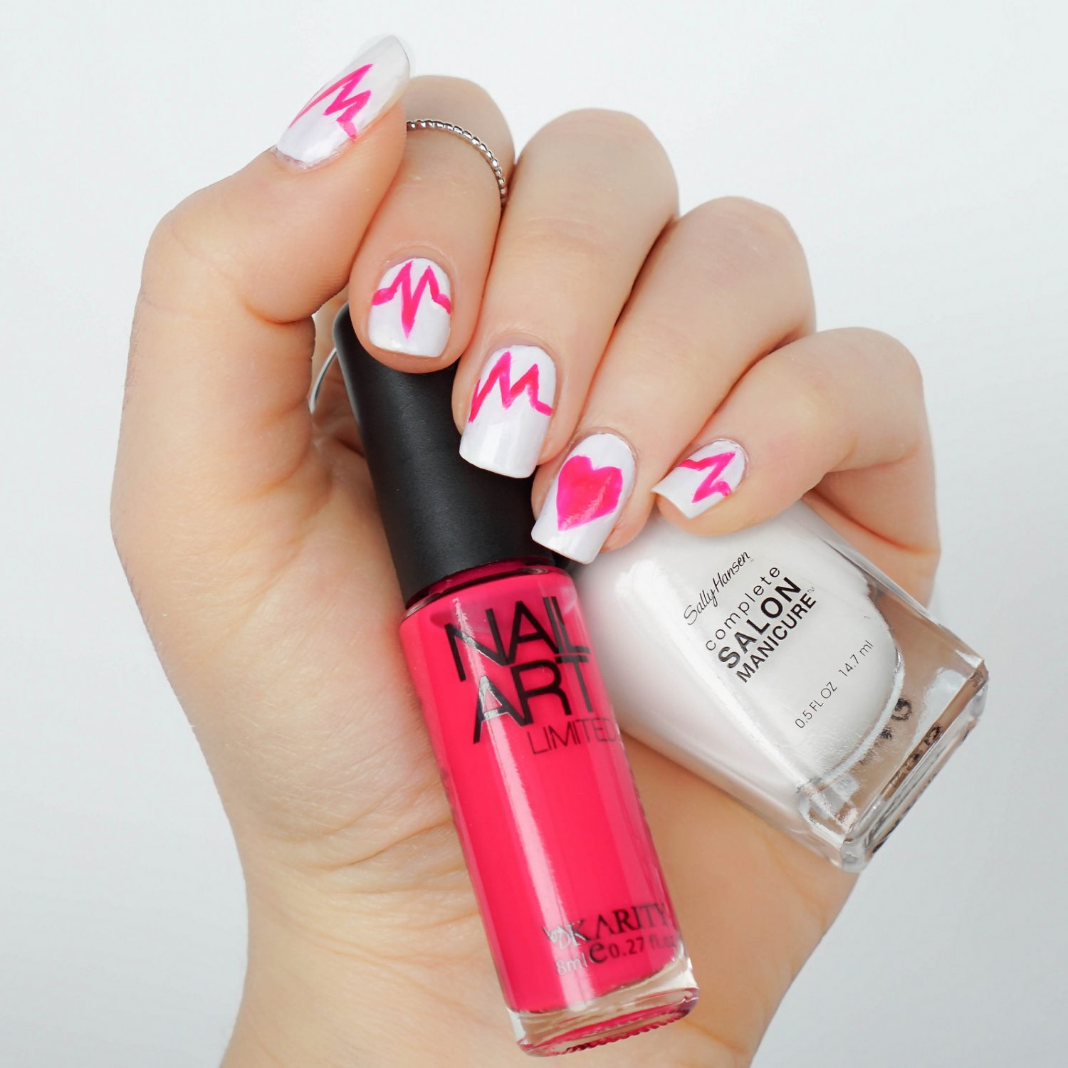 Valentine's Day Hot Pink Heartbeat Nail Art