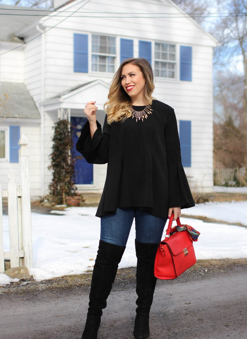 Asos Bell Sleeve Top   High Rise Jeans   Black OTK Boots   Winter 2017 Trend