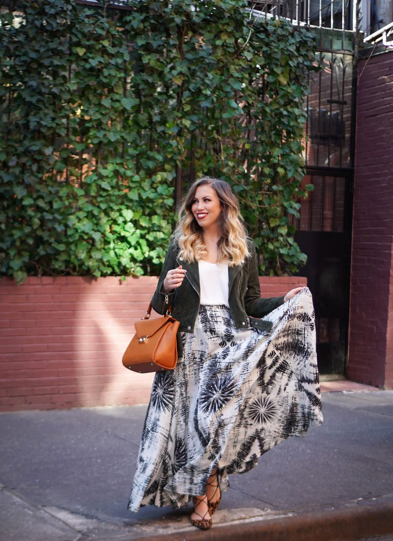 How to Wear Suede in Spring   BLANKNYC Suede Moto Jacket   Maxi Skirt in NYC