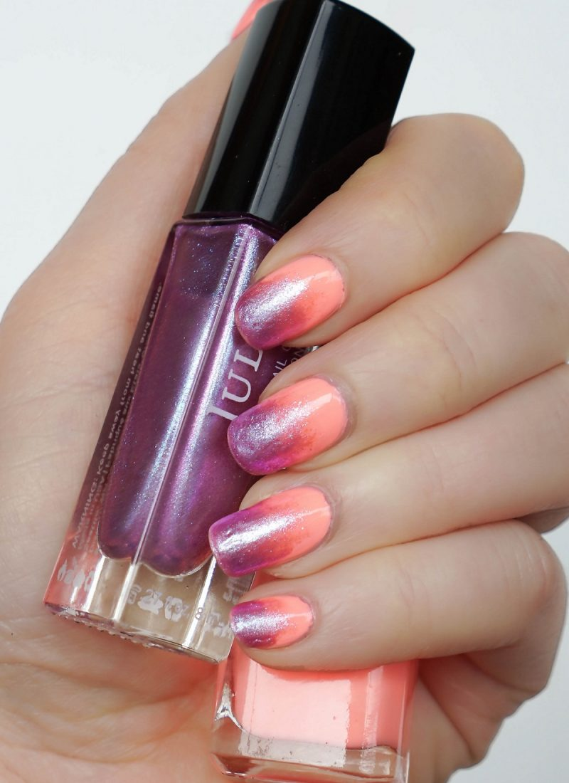 Creamsicle Orange and Iridescent Purple Gradient Manicure RickyColor in Night at the Stalkhouse Julep Nail Polish in Regina