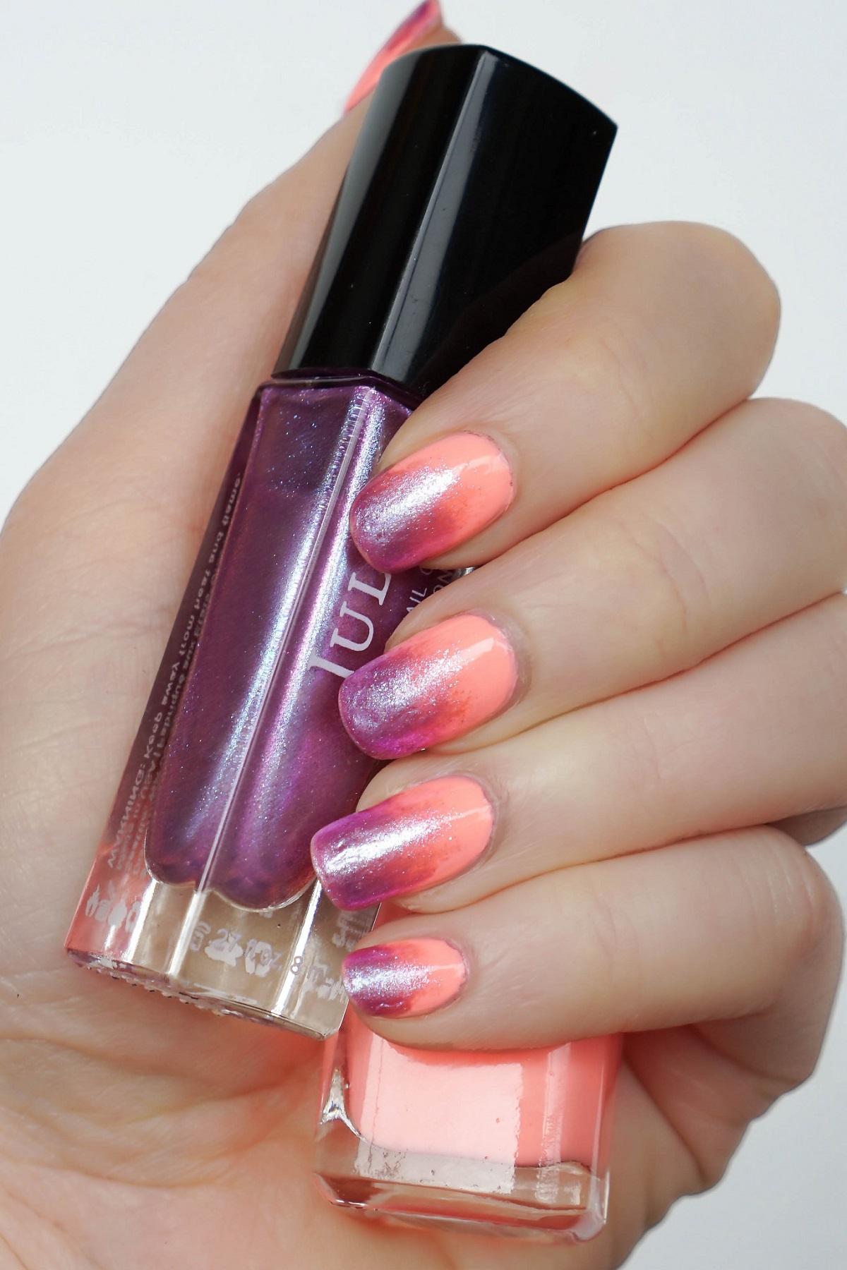Creamsicle Orange and Iridescent Purple Gradient Manicure