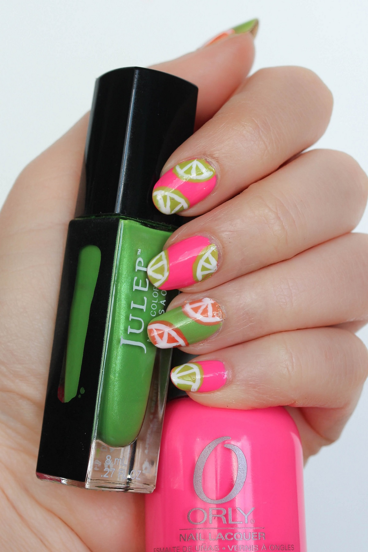 Summery Colorful Neon Fruit Nail Art