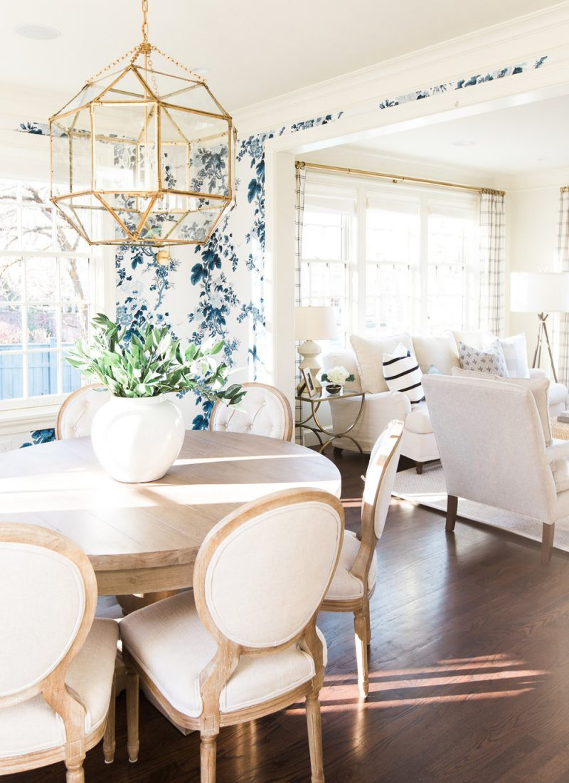 Easy Ways to Make Your Rental Feel Like Home | Blue Floral Wallpaper Dining Room Table