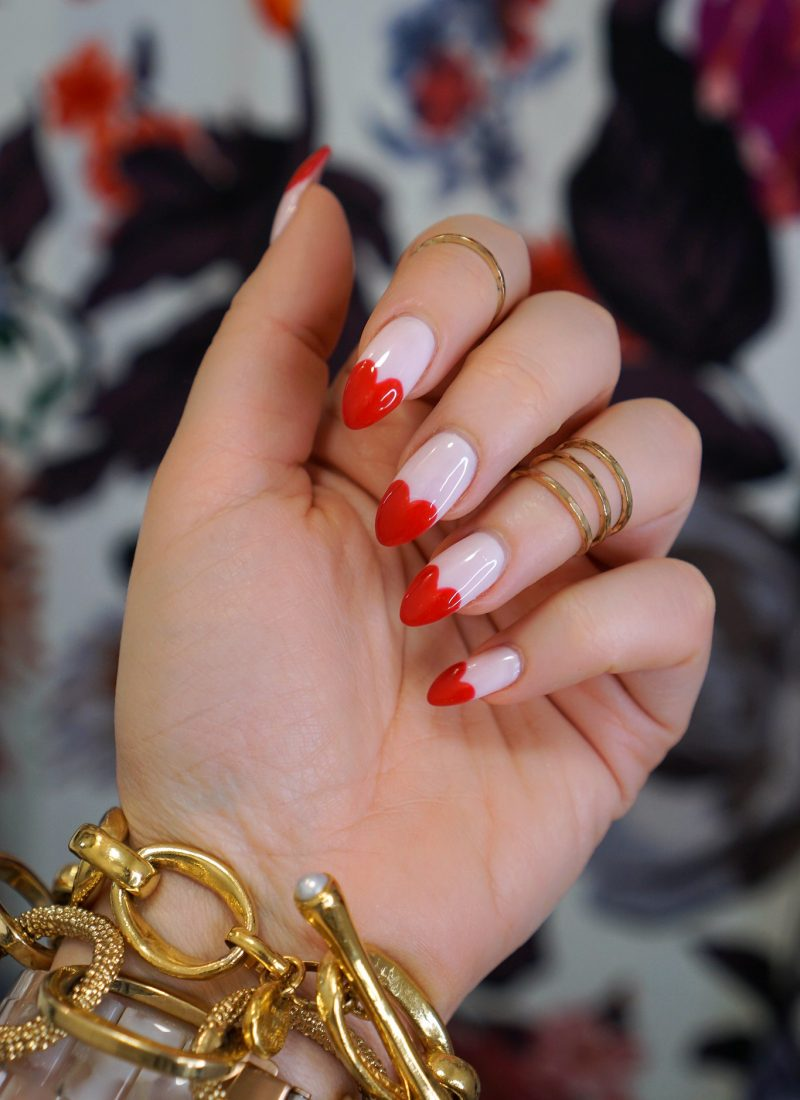 Manicure of the Month: Pink & Red Heart Nails