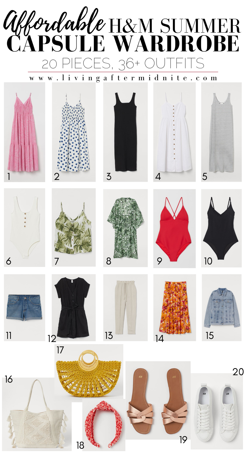 Affordable H&M Summer Capsule Wardrobe | 20 Pieces, 36+ Outfits
