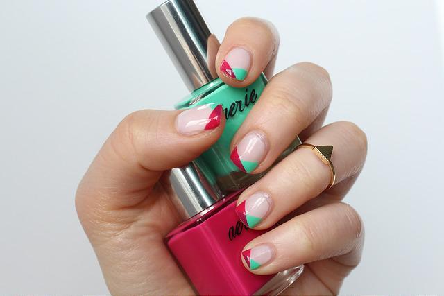 Pink & Sea Foam Geometric Nails
