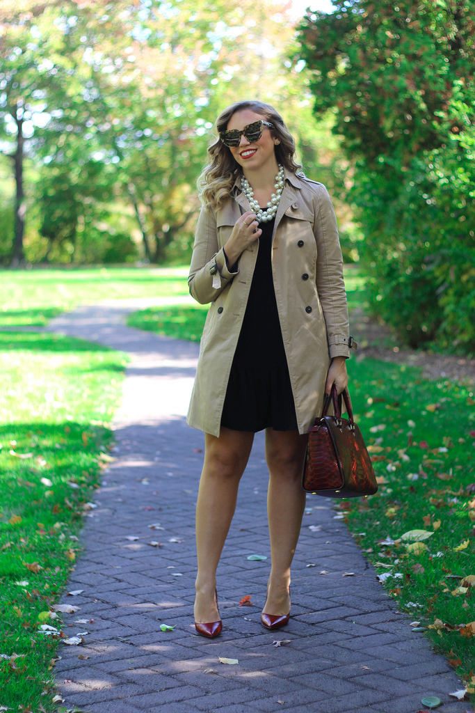 Classic Trench Coat & Red Pumps