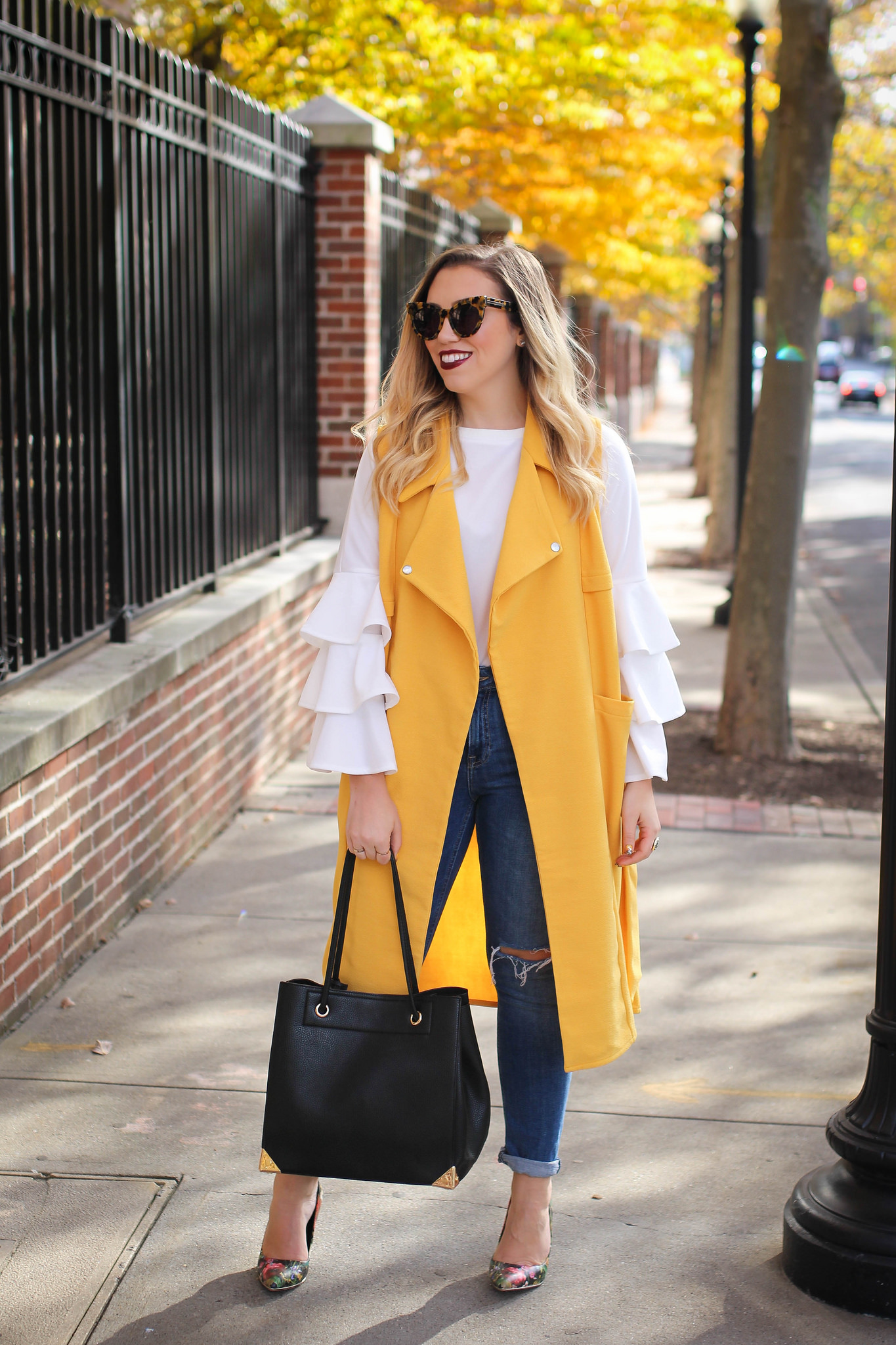 yellow vest jeans heels ruffle sleeves stamford connecticut