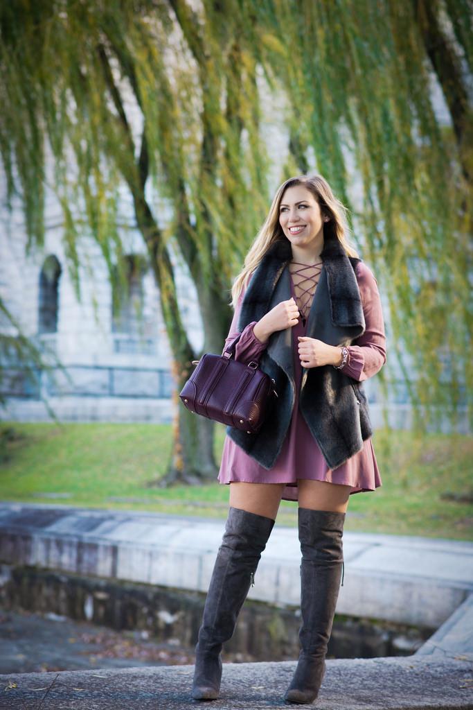 Lace Up Dress & Fur Vest