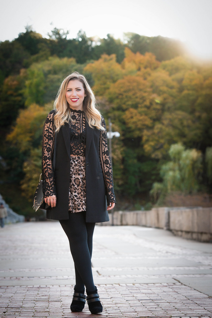 Lace Crop Top & Leopard Skirt