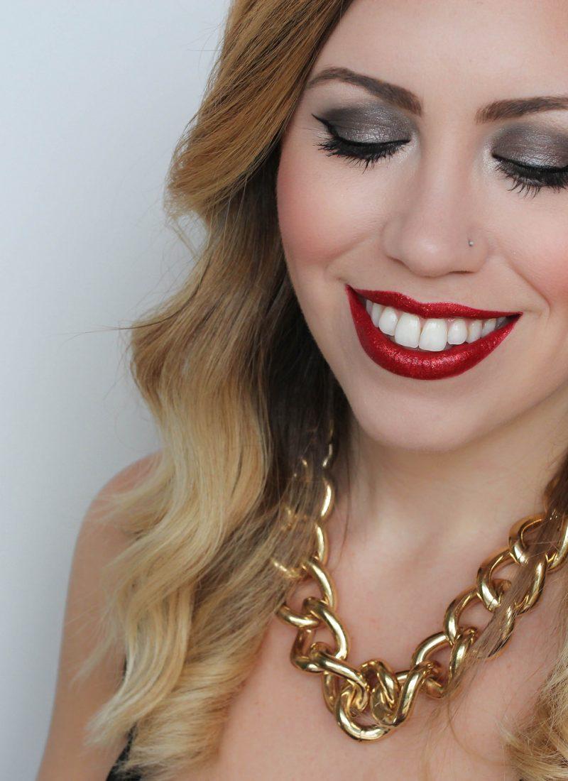 red glitter lipstick festive holiday nye makeup