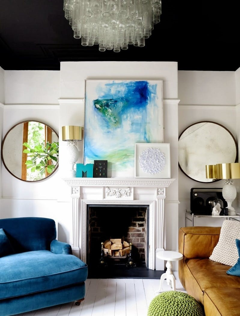 4 Ways to Decorate your Fireplace | Large Blue Watercolor Artwork over Fireplace Mantle