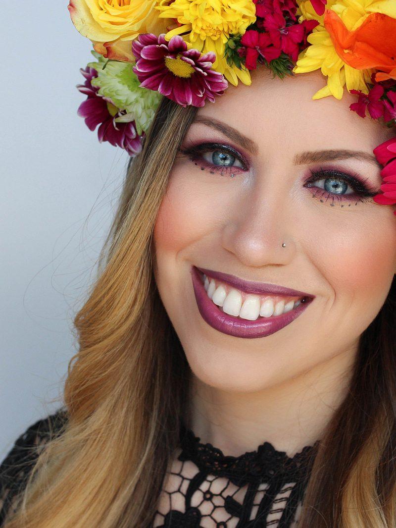 Colorful Festival Style Makeup Tutorial Flower Crown Coachella
