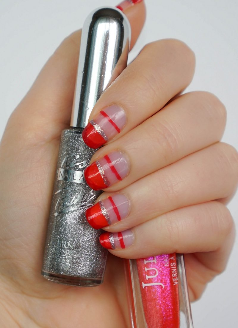 Red Glitter Negative Space Manicure