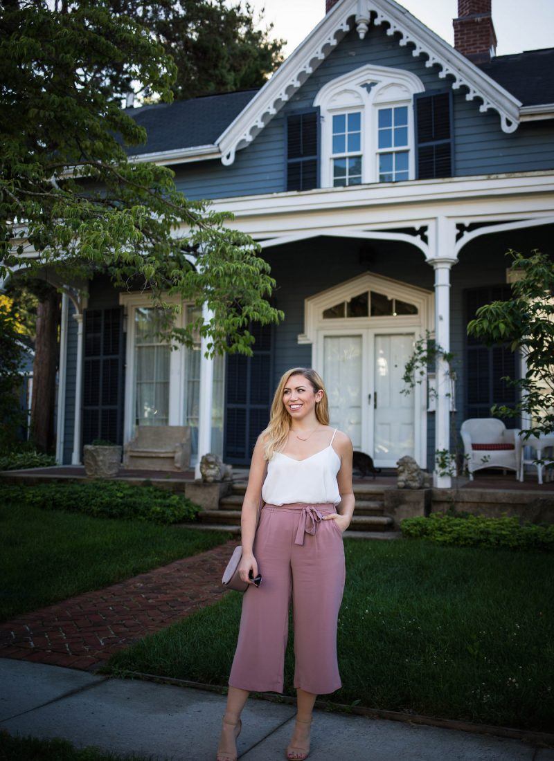 Do You Have Culottes in your Closet Yet? | ASOS Dusty Pink Culottes Blue House Hastings on Hudson New York