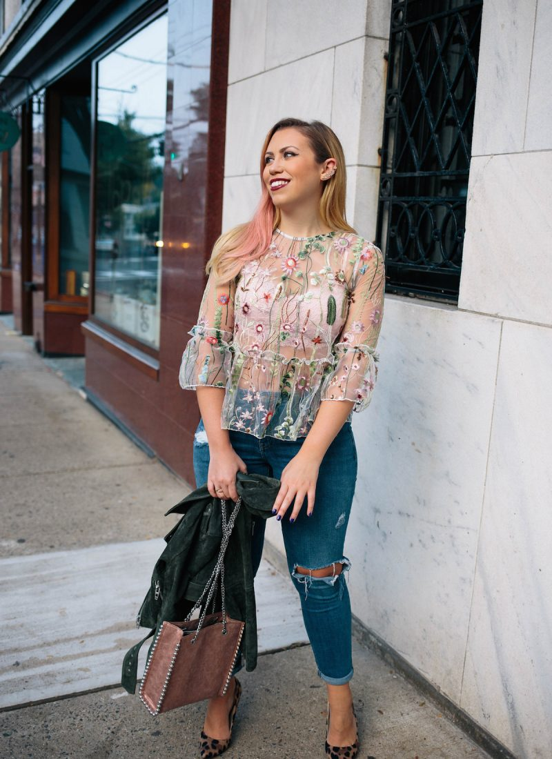 Going Sheer for Fall ASOS Floral Embroidered Top