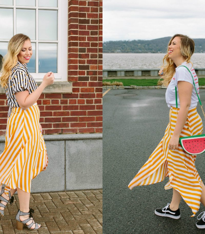 How to Dress Up and Dress Down a Midi Skirt