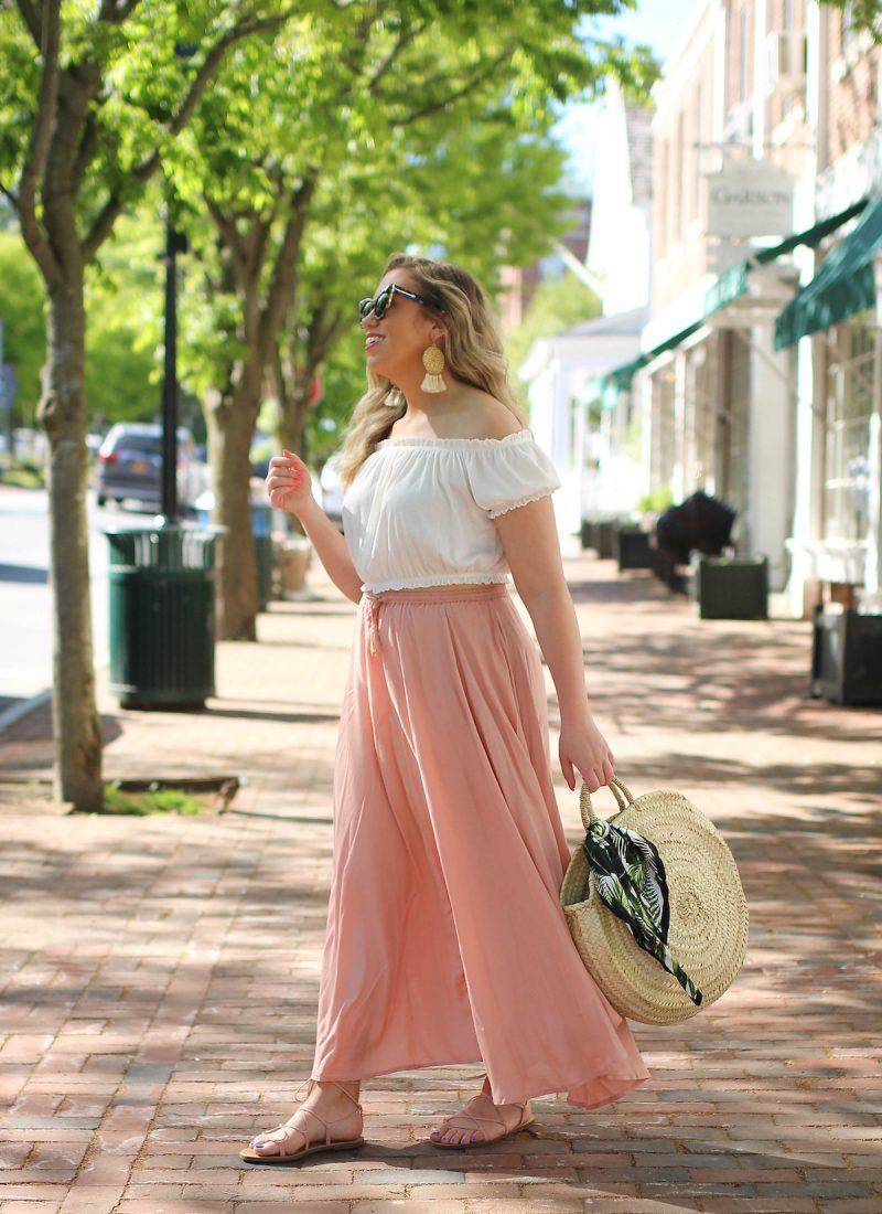 The Only Top You Need to Buy this Summer | Summer Wardrobe Staple | Summer Capsule Wardrobe | Summer Boho Outfit Inspiration| H&M Off the Shoulder White Crop Top | O'Neill Samoa Blush Midi Skirt | Bedford New York Westchester Blogger