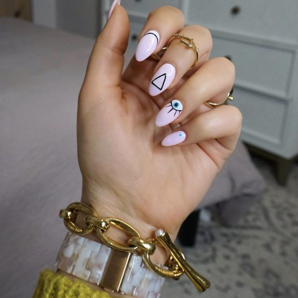 Manicure of the Month: Geometric Pink Evil Eye Nails