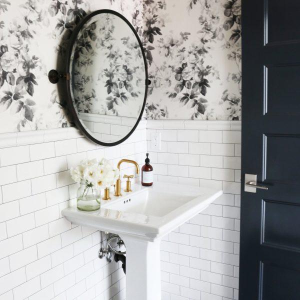 Black White Floral Anthropologie Wallpaper | Wallpaper Bathroom Inspiration | Wallpapered Bathroom Ideas | Black and White Bathroom | White Subway Tile
