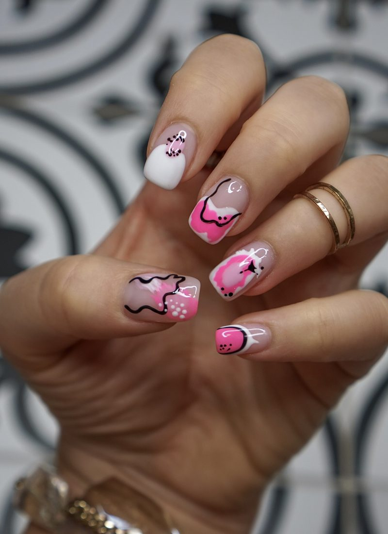 Manicure of the Month: Pink Abstract Nail Art