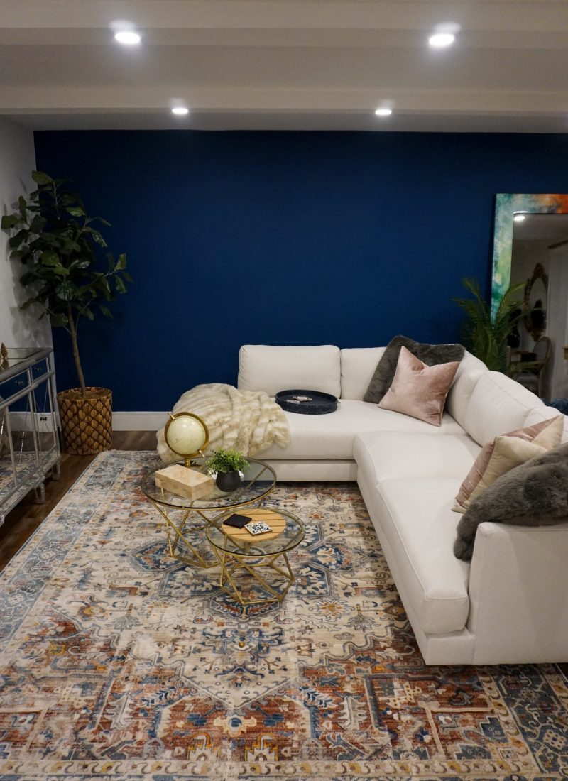 SHOP All of the Rugs I Have in my House | Living Room Ideas | Modern Bohemian Decor Inspiration | West Elm Haven Sectional | White Couch | White Sofa Inspo | Navy Blue Living Room Paint Wall Color