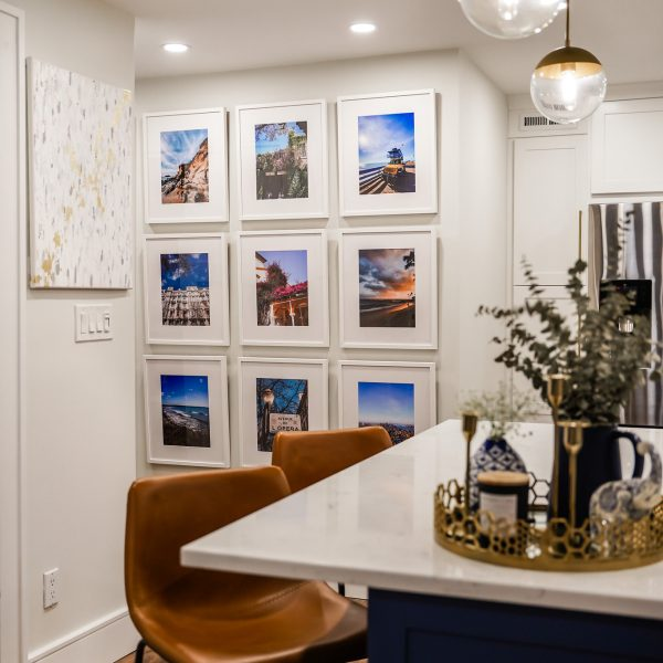 Travel Themed Gallery Wall | Framebridge Frames | White Frame White Mat | 9 Frame Gallery Wall | Gallery Wall Inspiration | Wall Art Ideas | Travel Photography | Where to Get Travel Photos Printed | Photo Display Ideas | Easy Gallery Wall