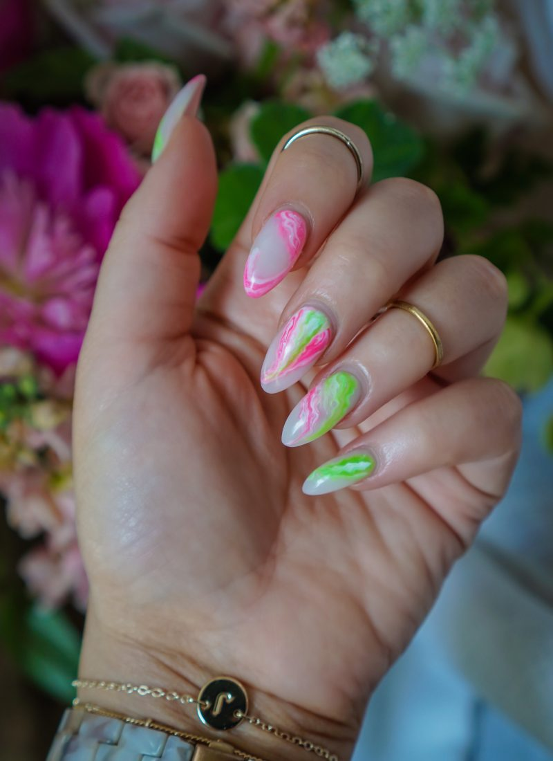 Pink & Green Marble Nails: Manicure of the Month | Summer Nails | Vacation Nails | Manicure Ideas | 2021 Nail Ideas | Nail Art | Almond Nails | Acrylic Nails | Neon Nails | Acrylic Nails